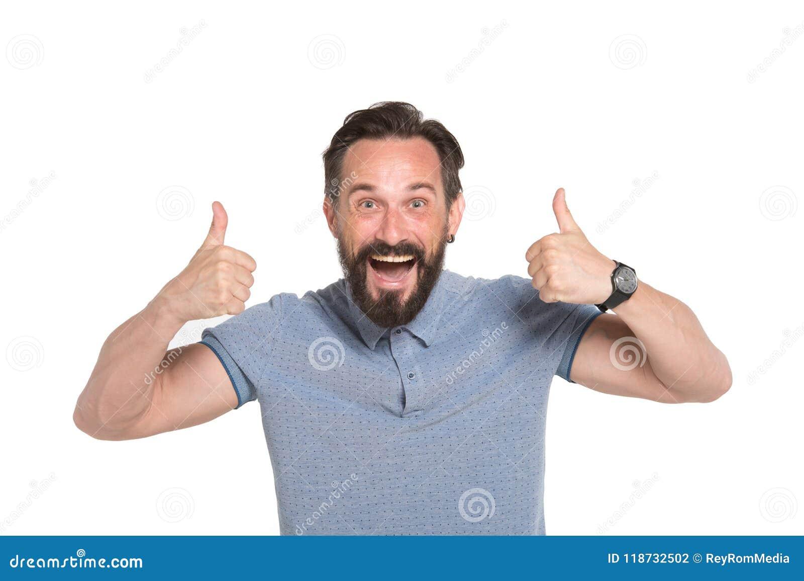 Två tummar upp vid båda händer Emotionell man med två tummar som isoleras upp på vit bakgrund Lycklig framsidasinnesrörelse för u