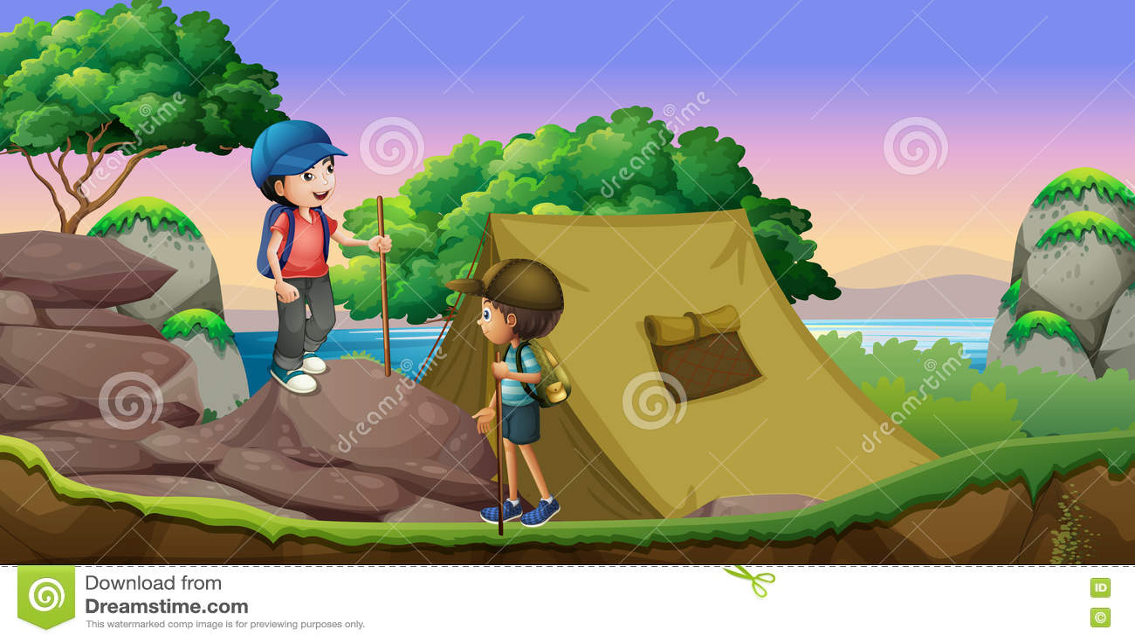 Två ungar som ut campar vid sjön