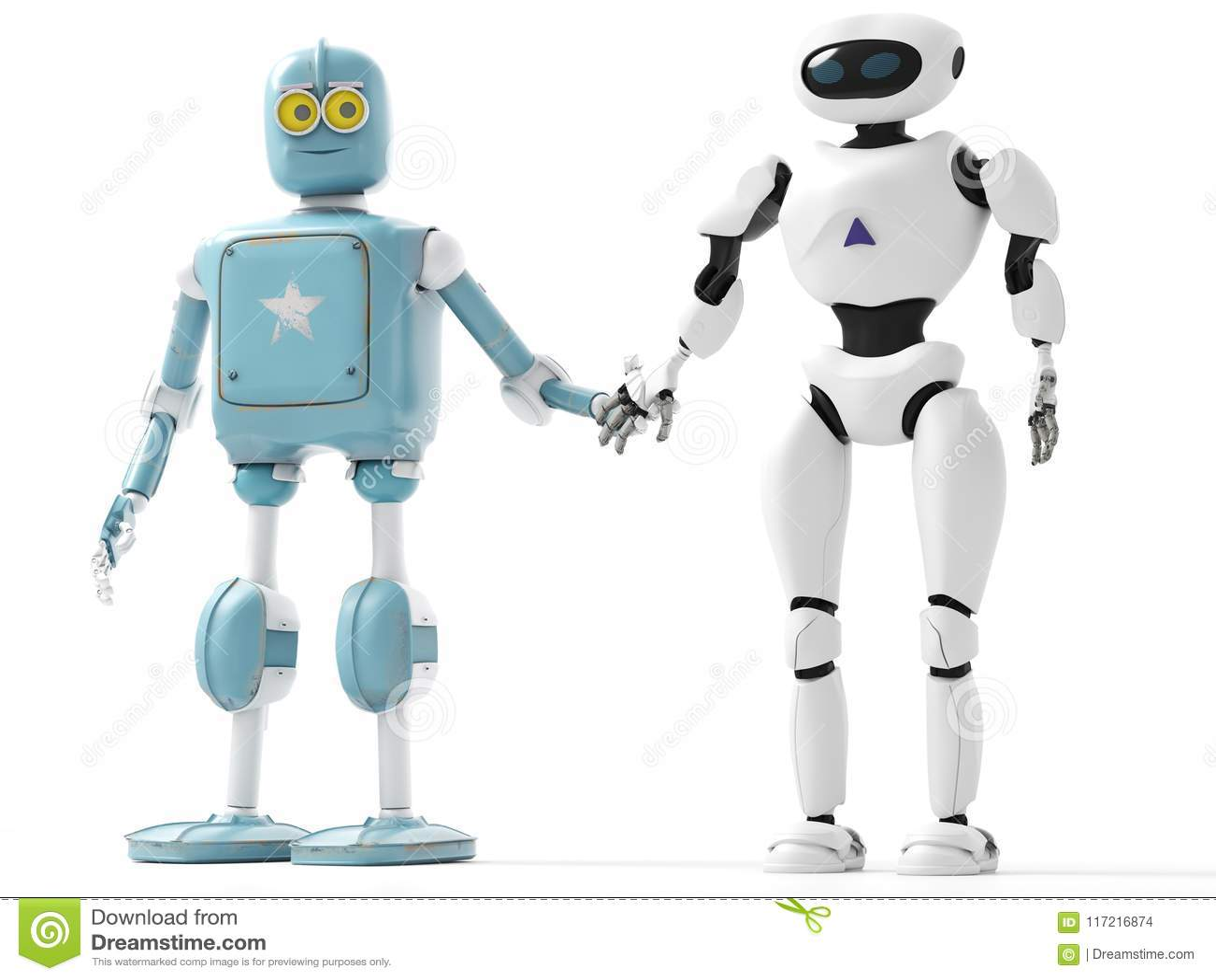 Två utvecklingar av robotar som rymmer händer med envit backgro