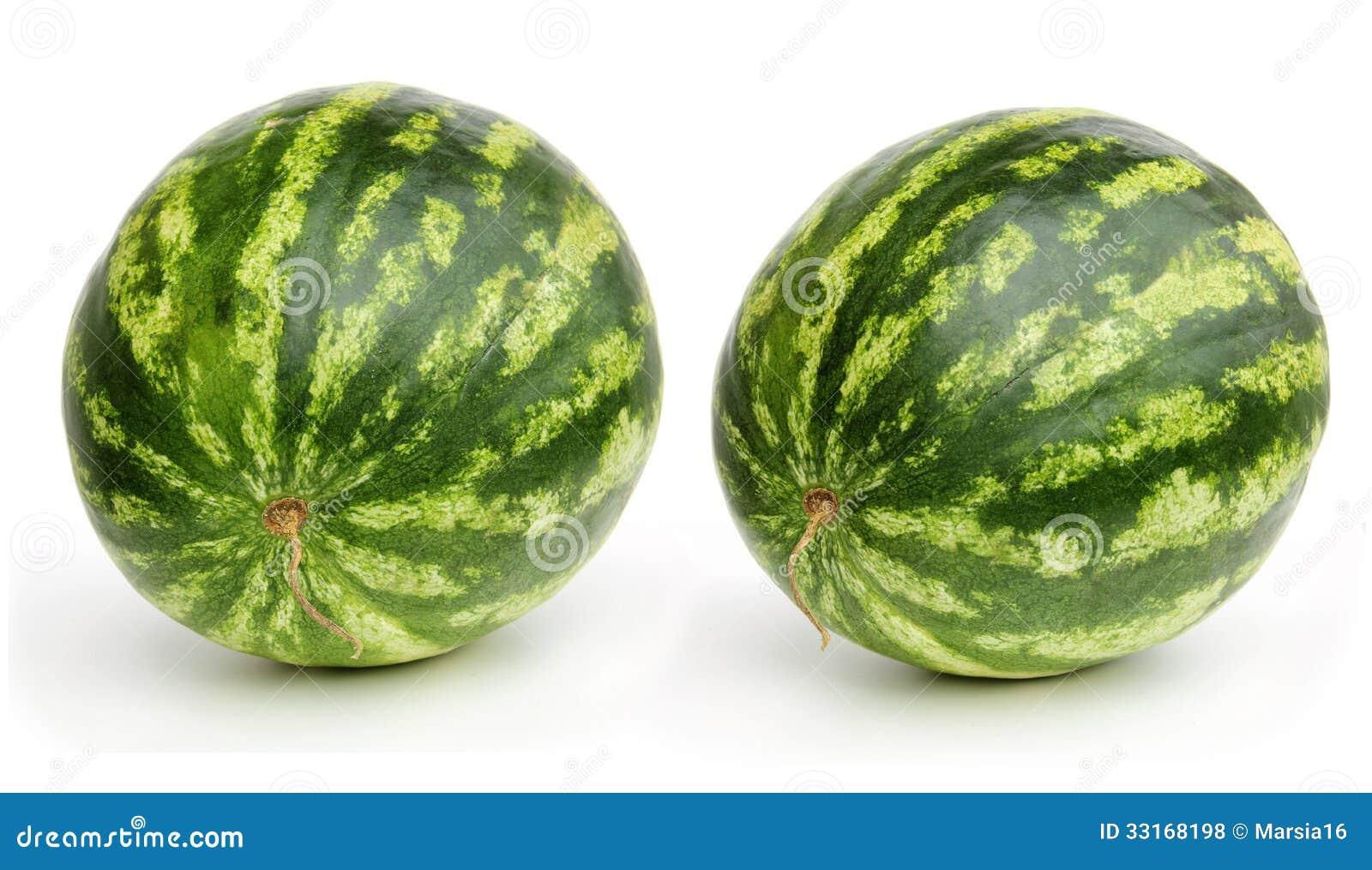 Två vattenmelon på vit