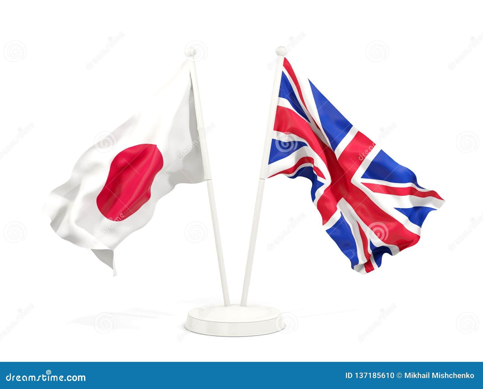 Två vinkande flaggor av Japan och UK