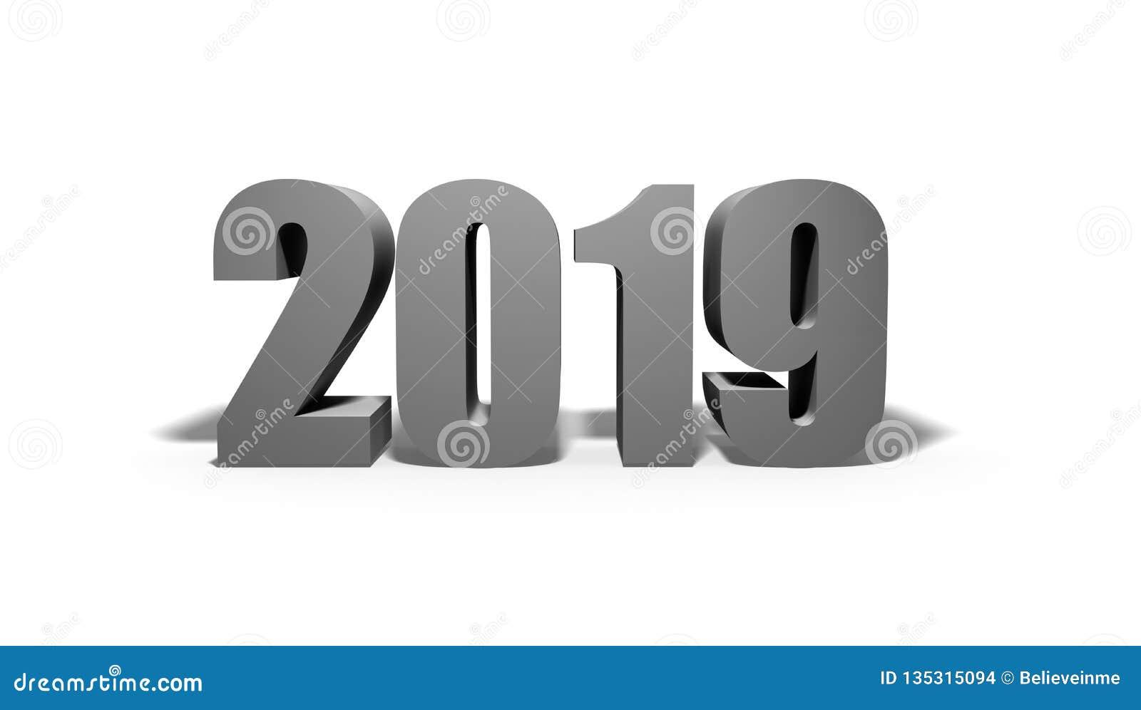 Tvåtusen och nitton Nytt 2019 år på vit