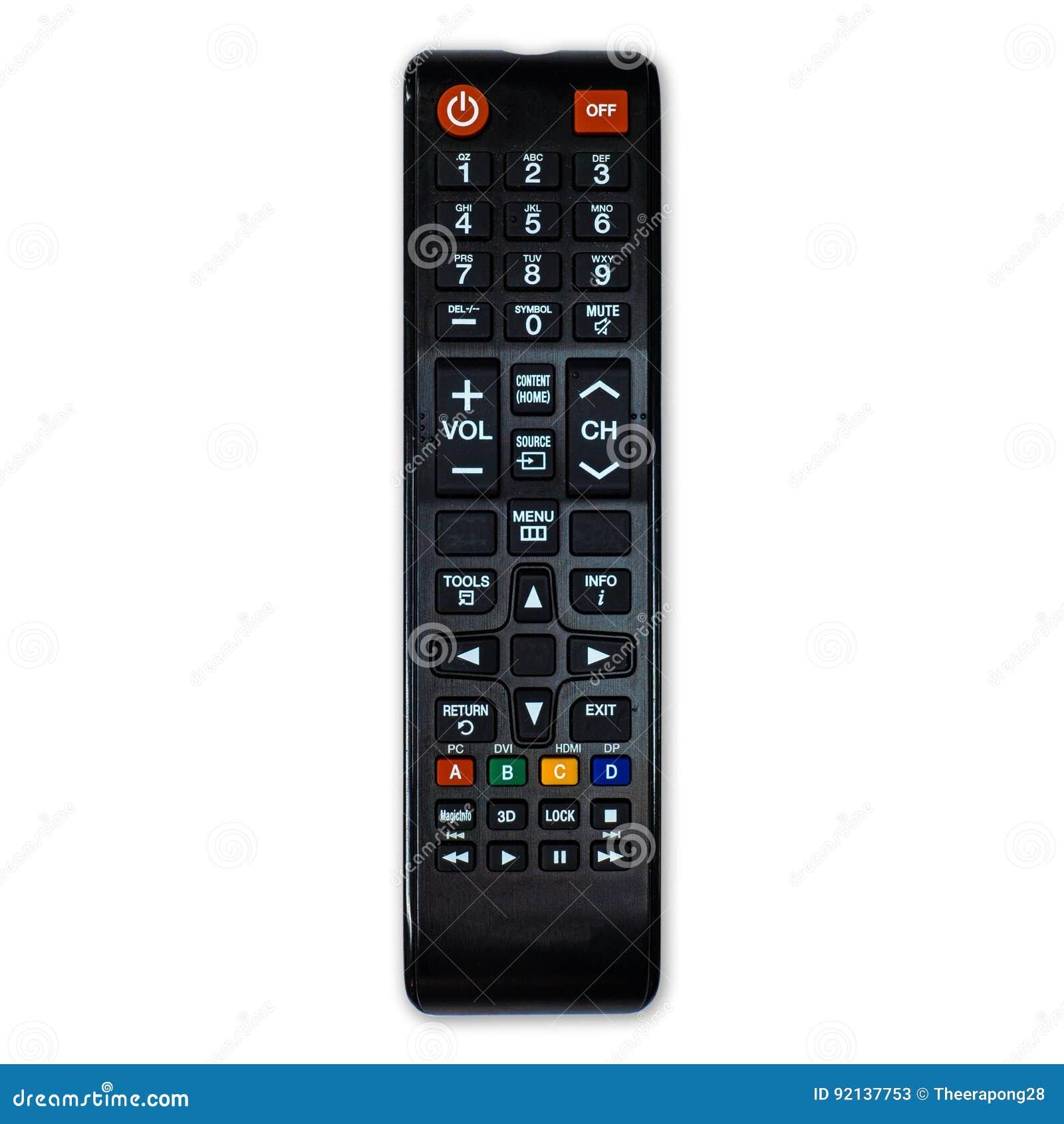 TV à télécommande d isolement sur le fond blanc