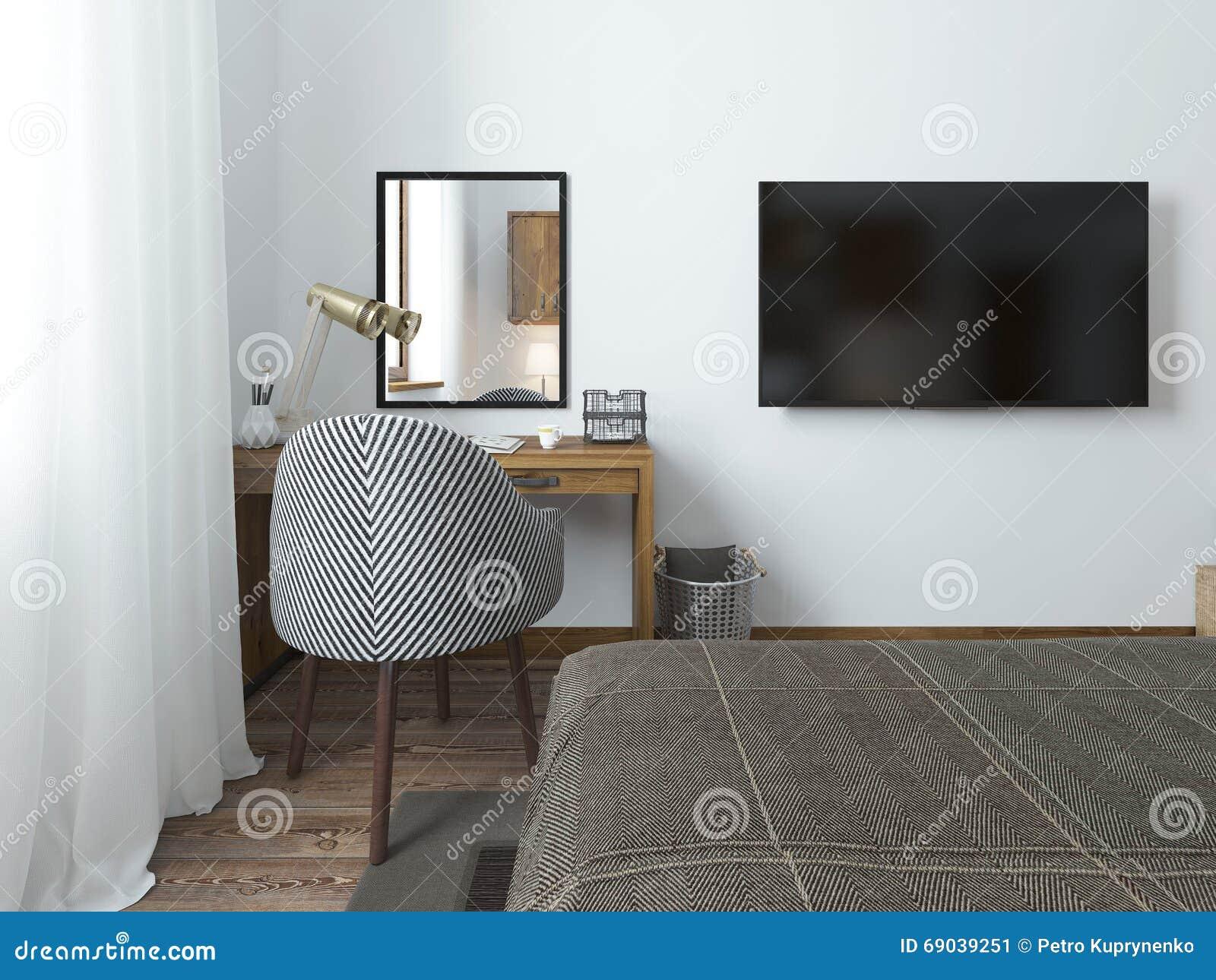 Tv accrochant sur le mur et le bureau dans la chambre à coucher dans