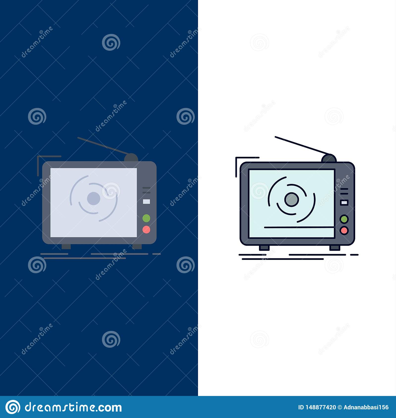 tv, ad, advertising, television, set Flat Color Icon Vector