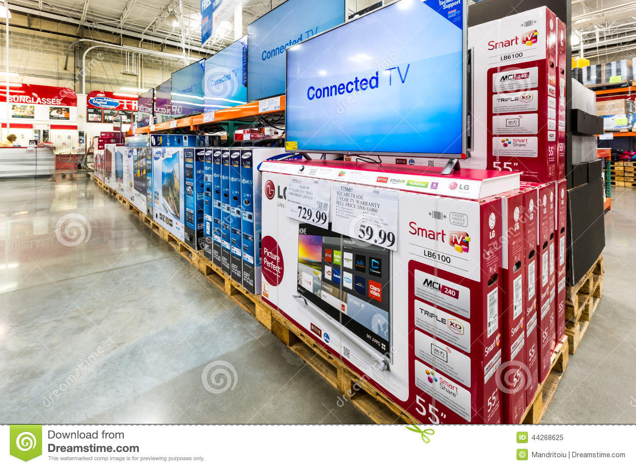 Tv Aisle In A Costco Store Editorial Image Image Of