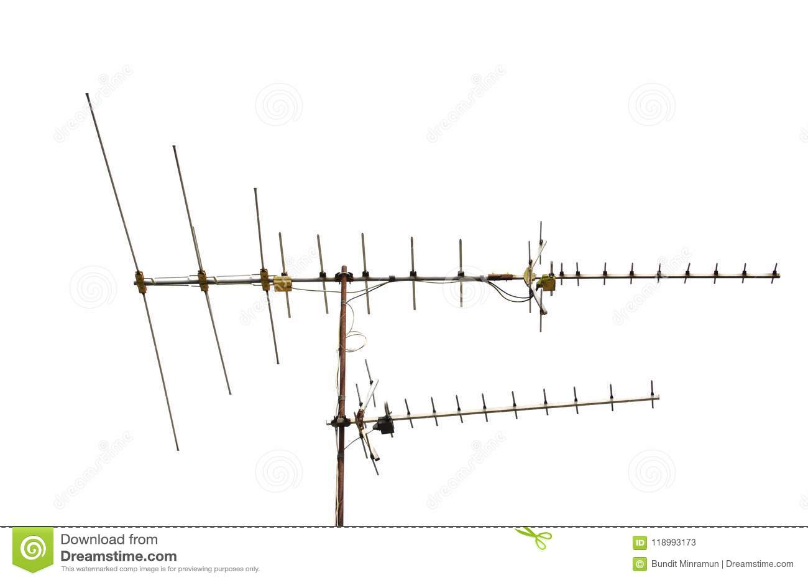 Tv Antenna Isolated On White Background  Stock Image - Image of