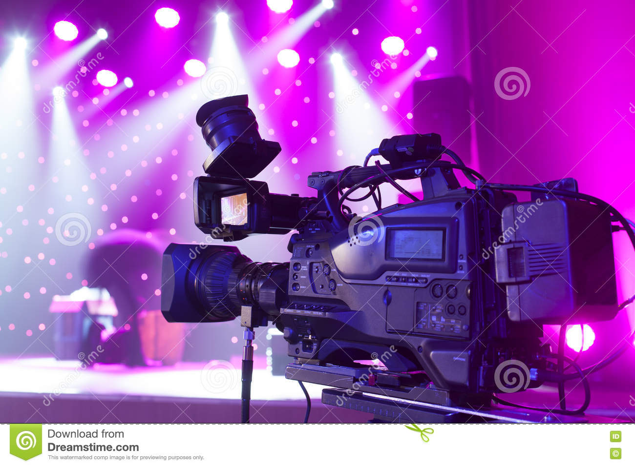 Tv Camera In A Concert Hall  Stock Image