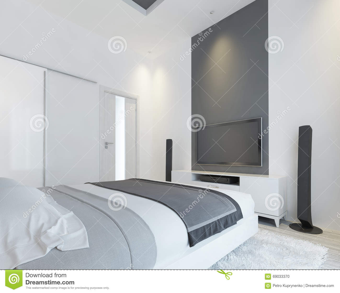 bedroom console contemporary gray media modern sliding speakers ... - TV Console With Speakers In The Modern Bedroom. Stock Illustration