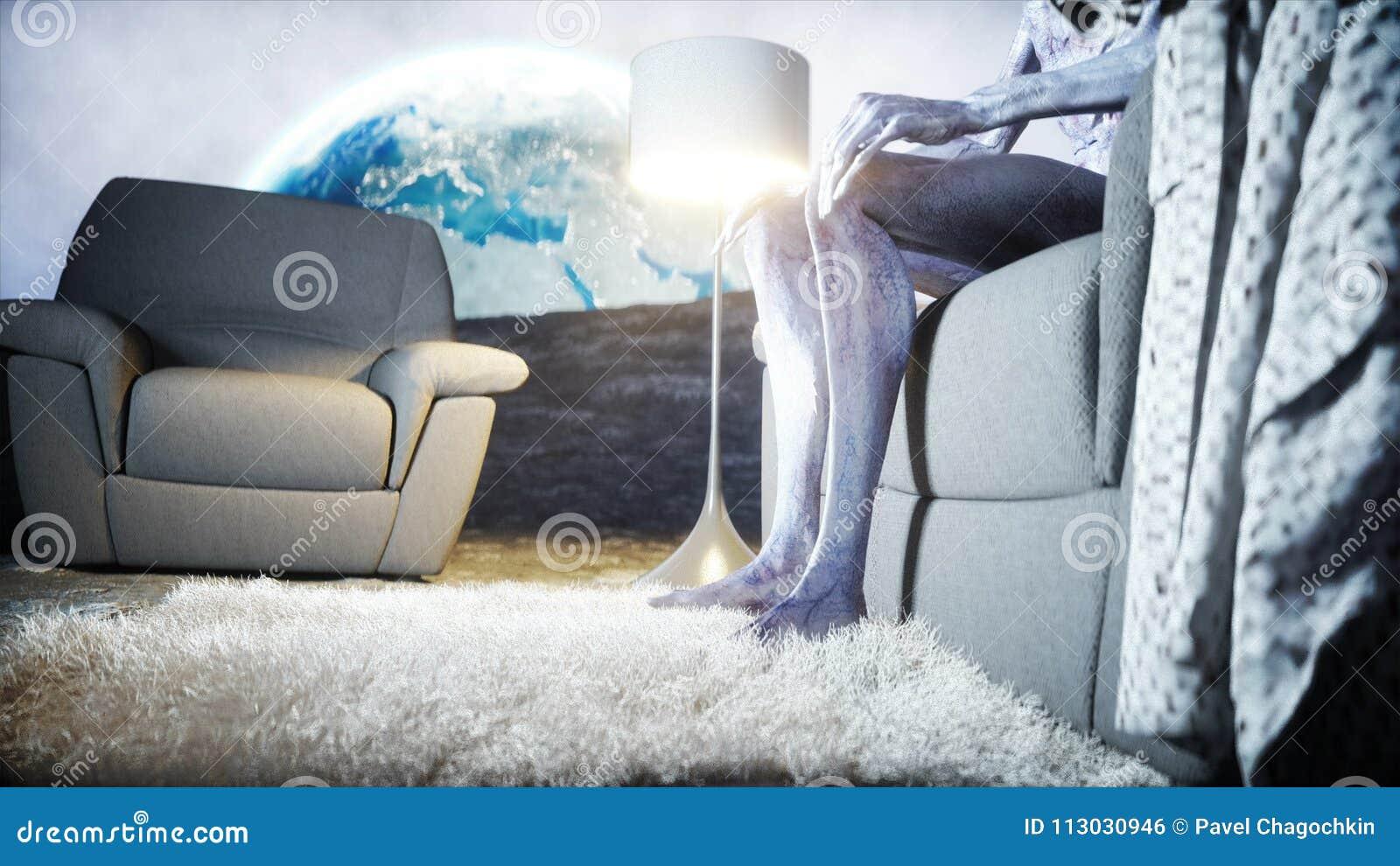 TV de observación extranjera divertida en el sofá en la luna Vida en el concepto de la luna Fondo de la tierra representación 3d