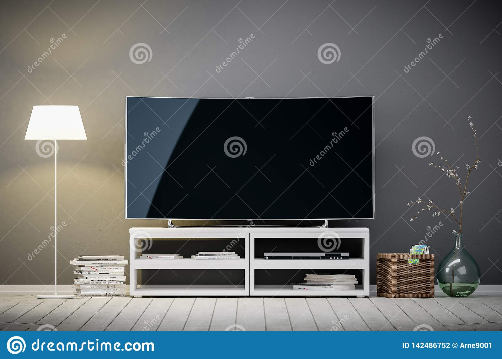 Tv display with blank screen in living room