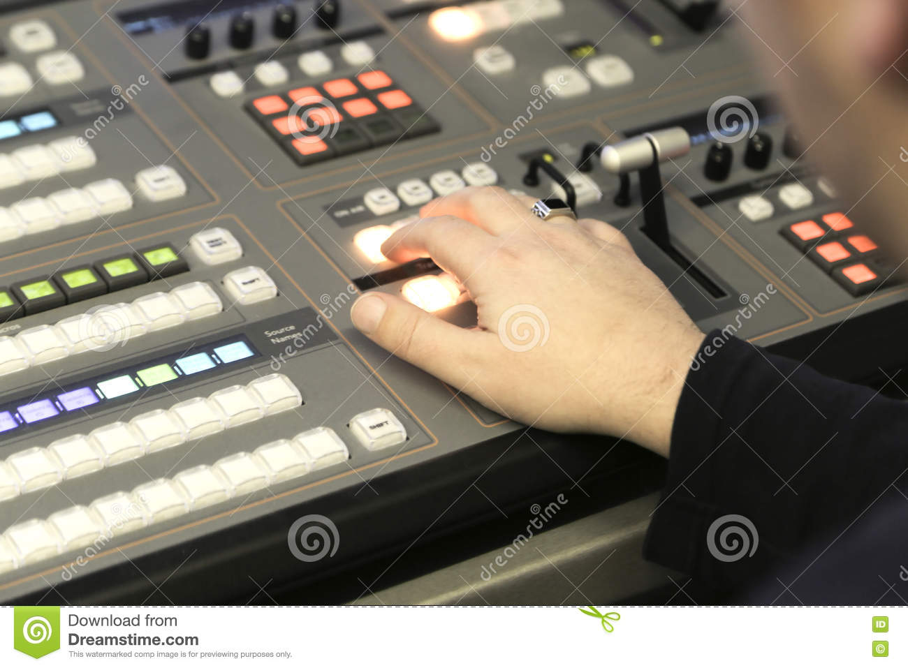 TV Editor Working With Audio Video Mixer In A Television