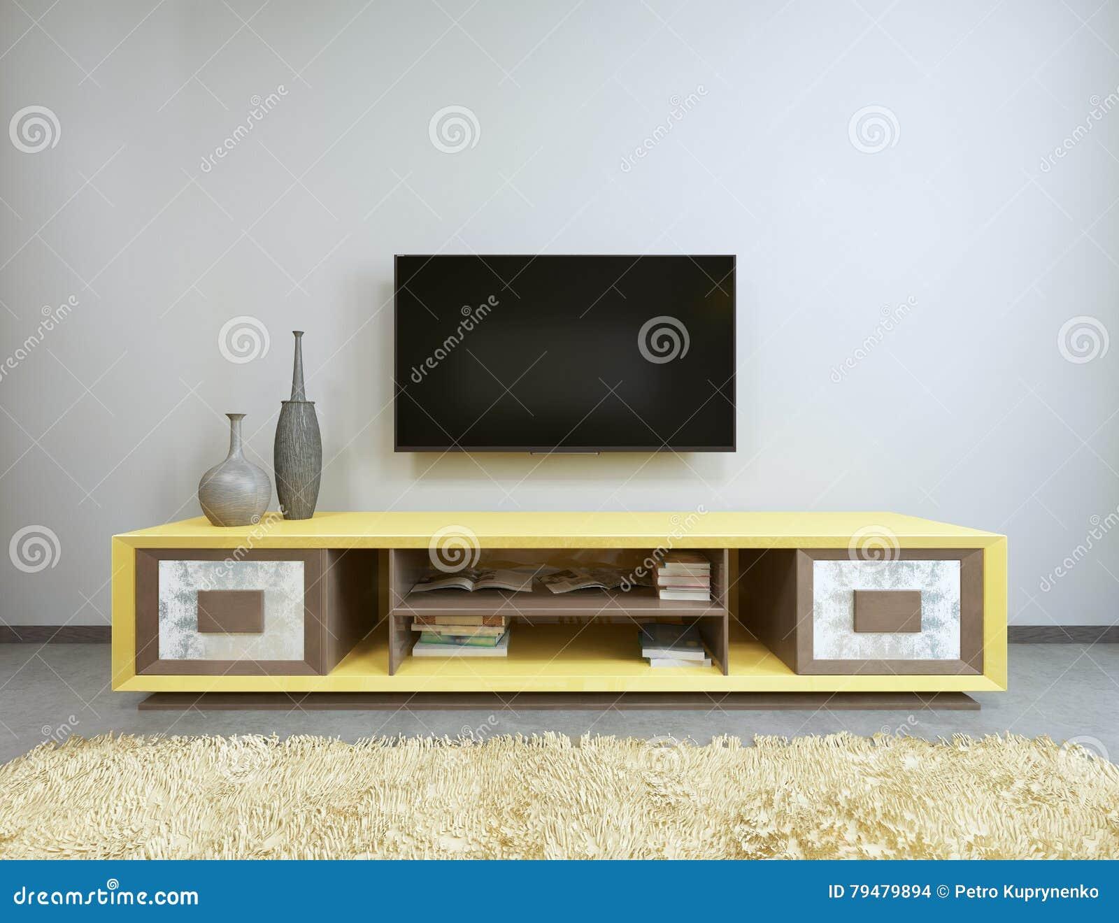 TV-eenheid In Woonkamer Met Gele TV Op De Muur Stock Illustratie ...