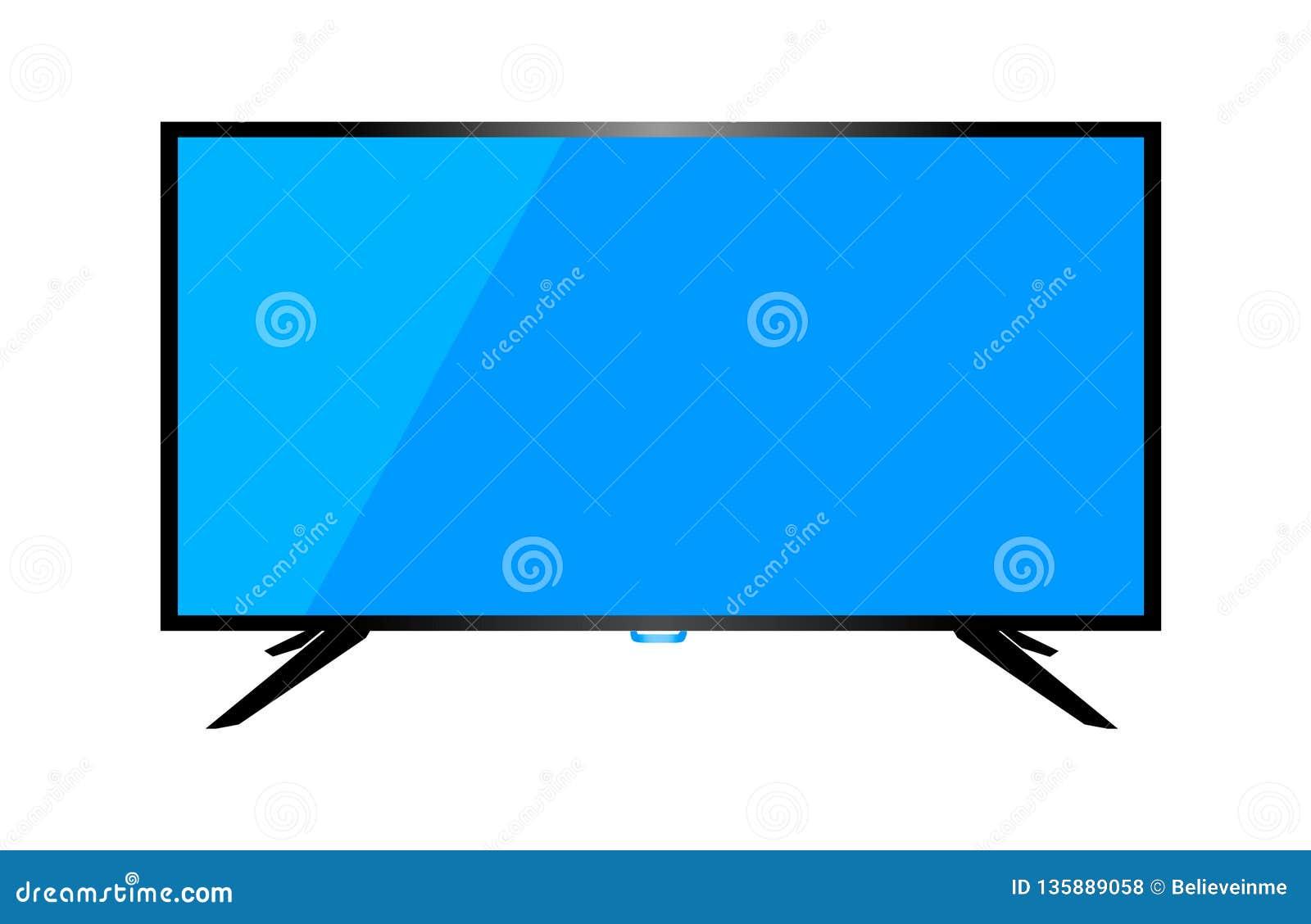 TV eller bildskärm av datoren på en vit bakgrund vektor