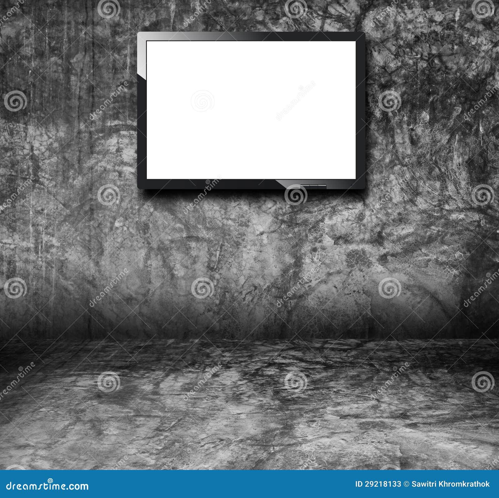 Tv en el cuarto del grunge fotos de archivo imagen 29218133 - Tv en habitacion ...