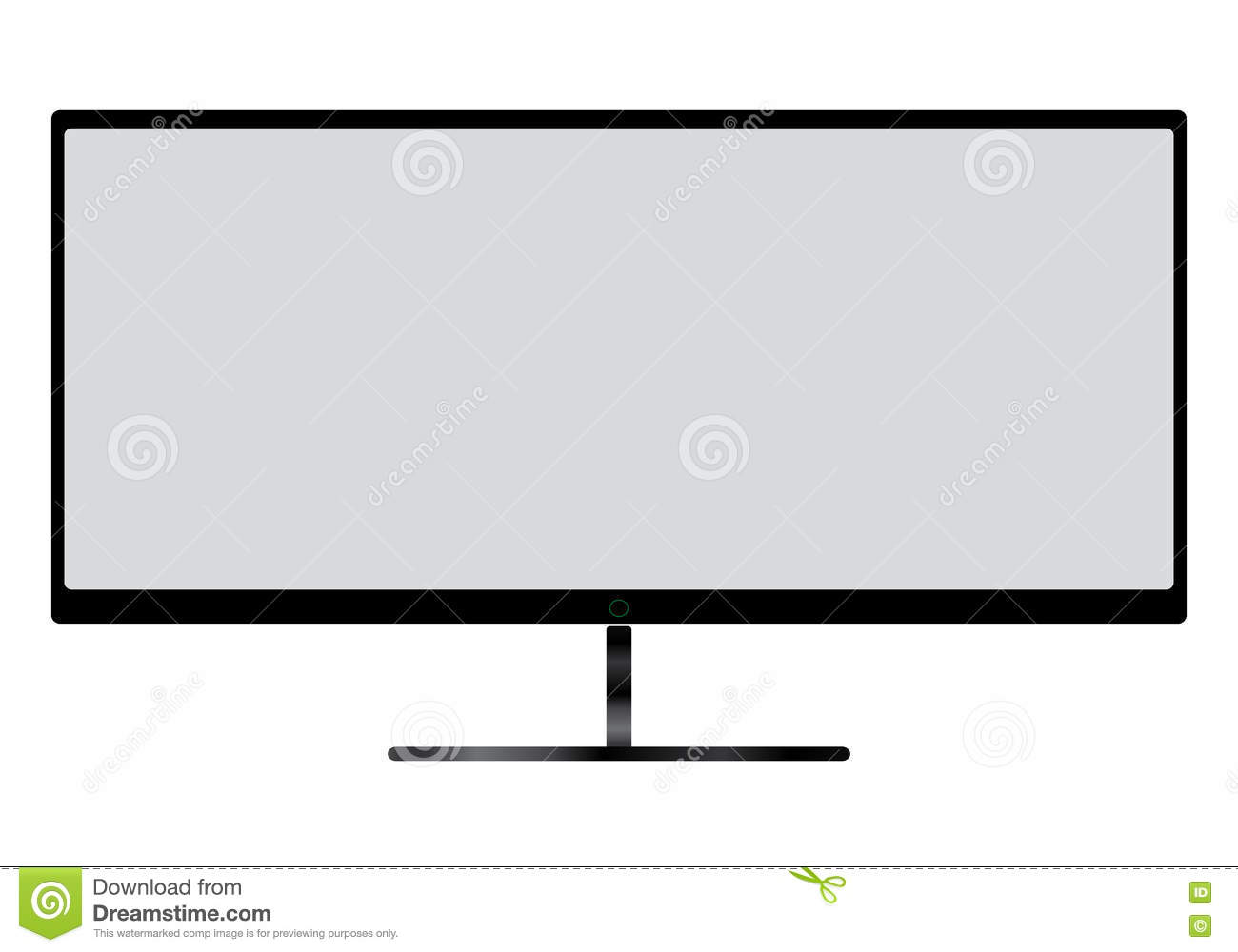 TV Flat Screen Lcd, Plasma Realistic Illustration With Gray
