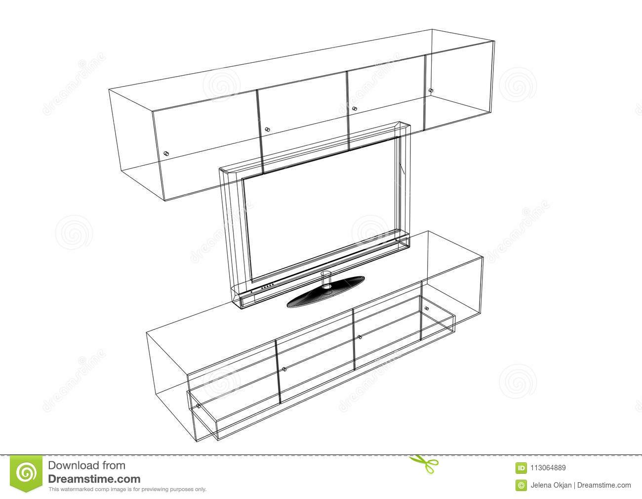 Tv and furniture blueprint stock illustration illustration of tv and furniture blueprint geometry house malvernweather Images