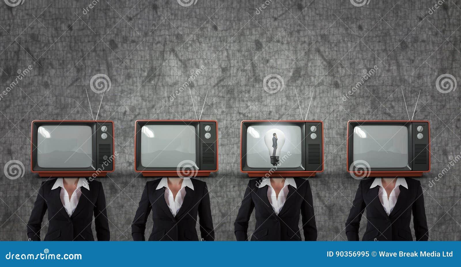 Tv head business woman. having an idea.
