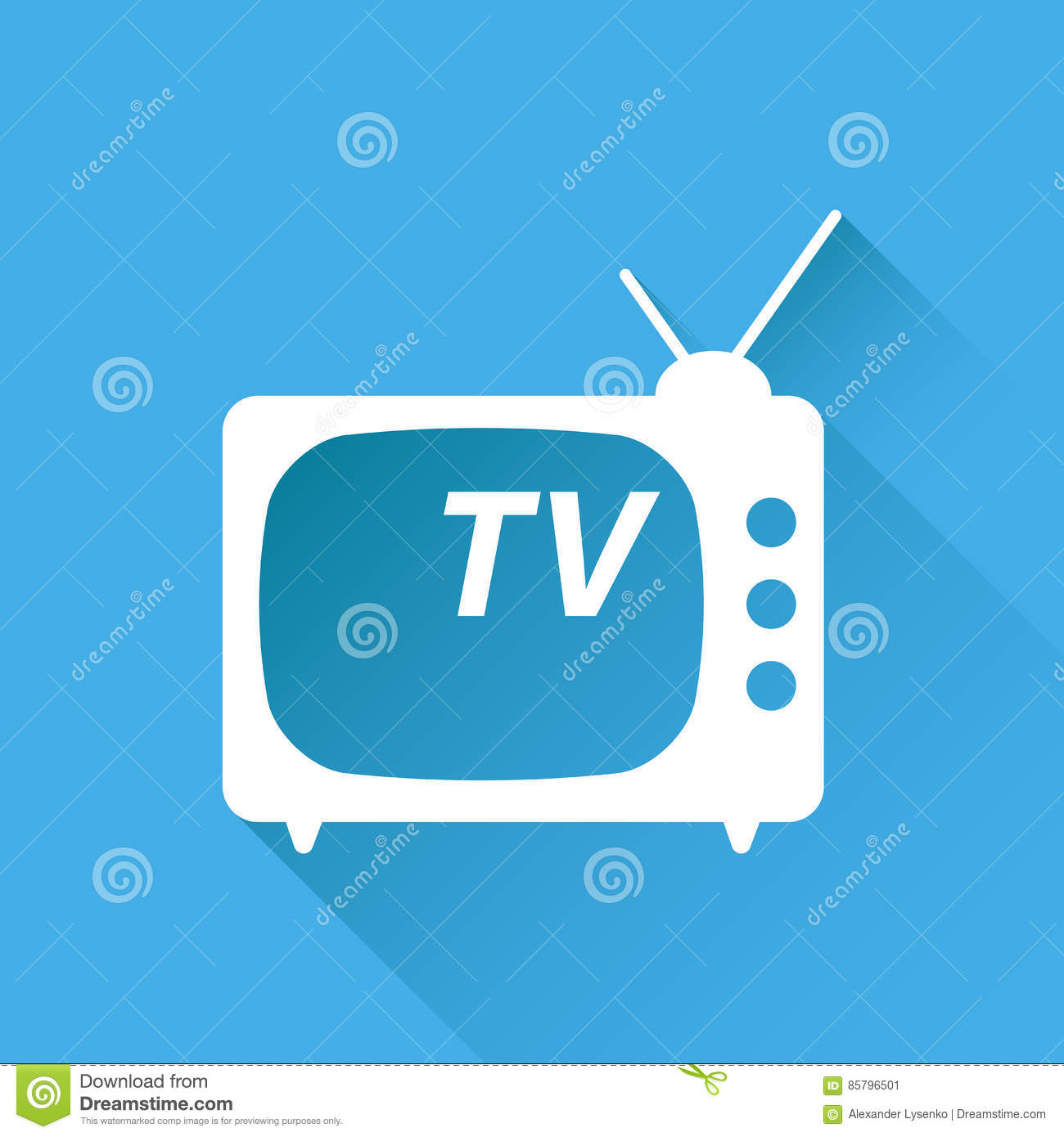 Tv Icon Vector Illustration In Flat Style Isolated On Blue