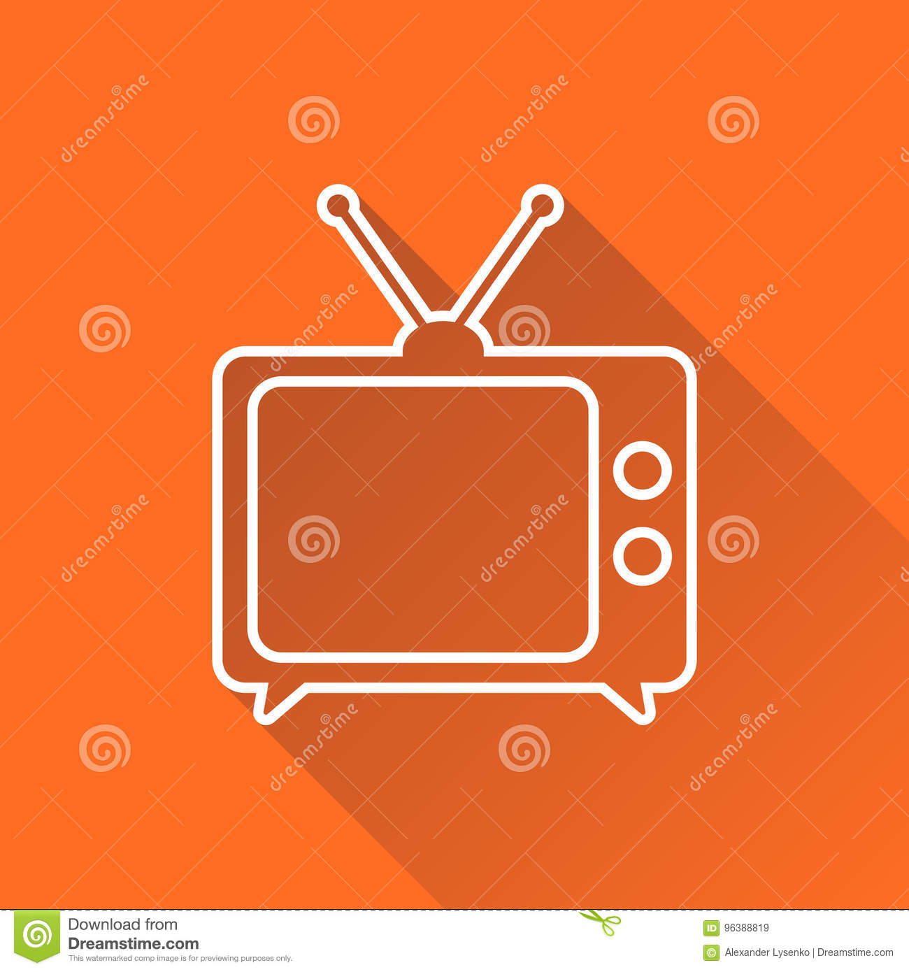 Tv Icon Vector Illustration In Line Style Isolated On Orange