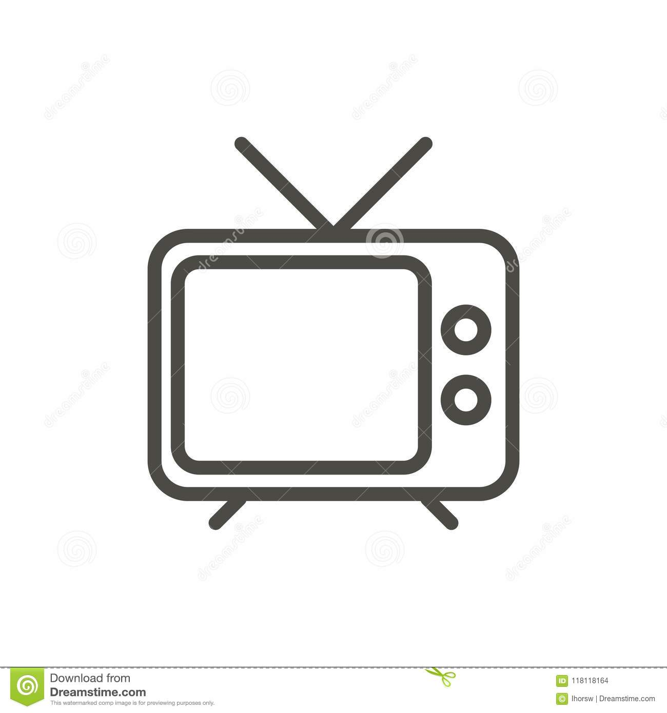 Tv Icon Vector  Outline Television, Line Old Tv Symbol