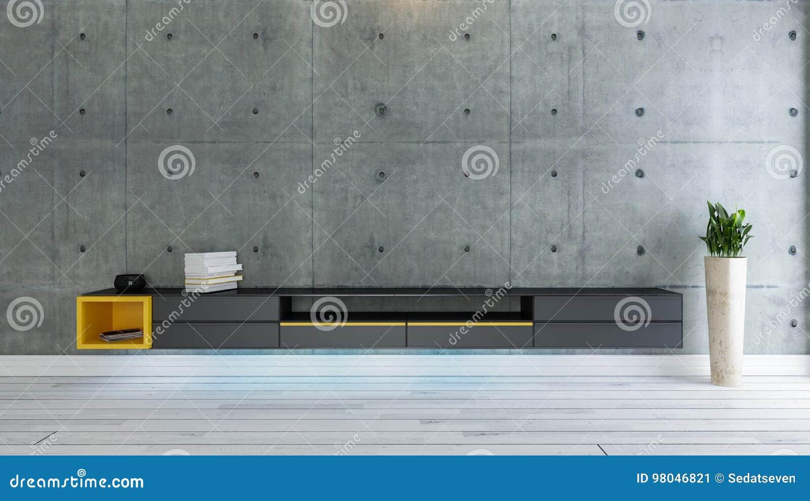 Tv idee van het ruimte het binnenlandse ontwerp met concrete muur