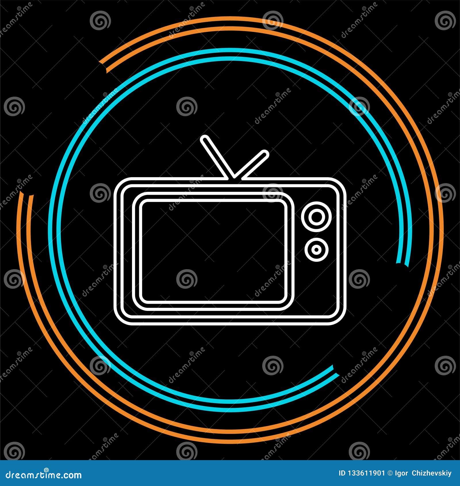 Tv ikona, wektorowa telewizja ekranu ilustracja, wideo przedstawienie, rozrywka symbol