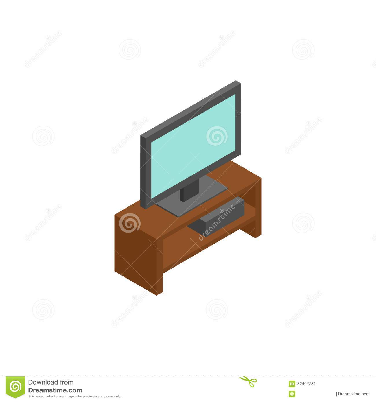 Tv isometric icon or logo for web design stock for Interior design web app