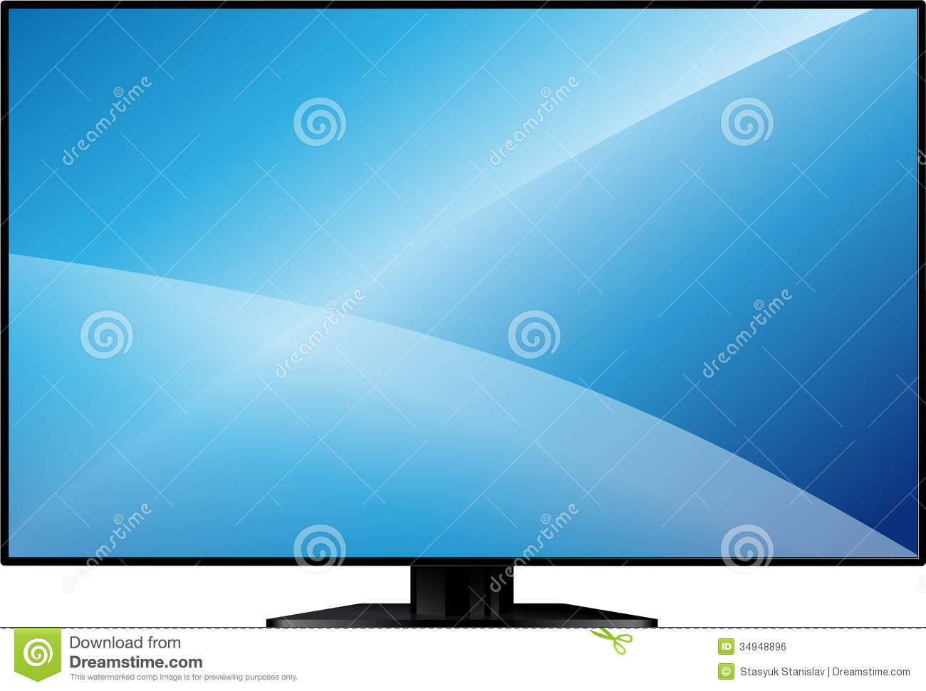 Tv With A Large Blank Screen Stock Vector Image 34948896