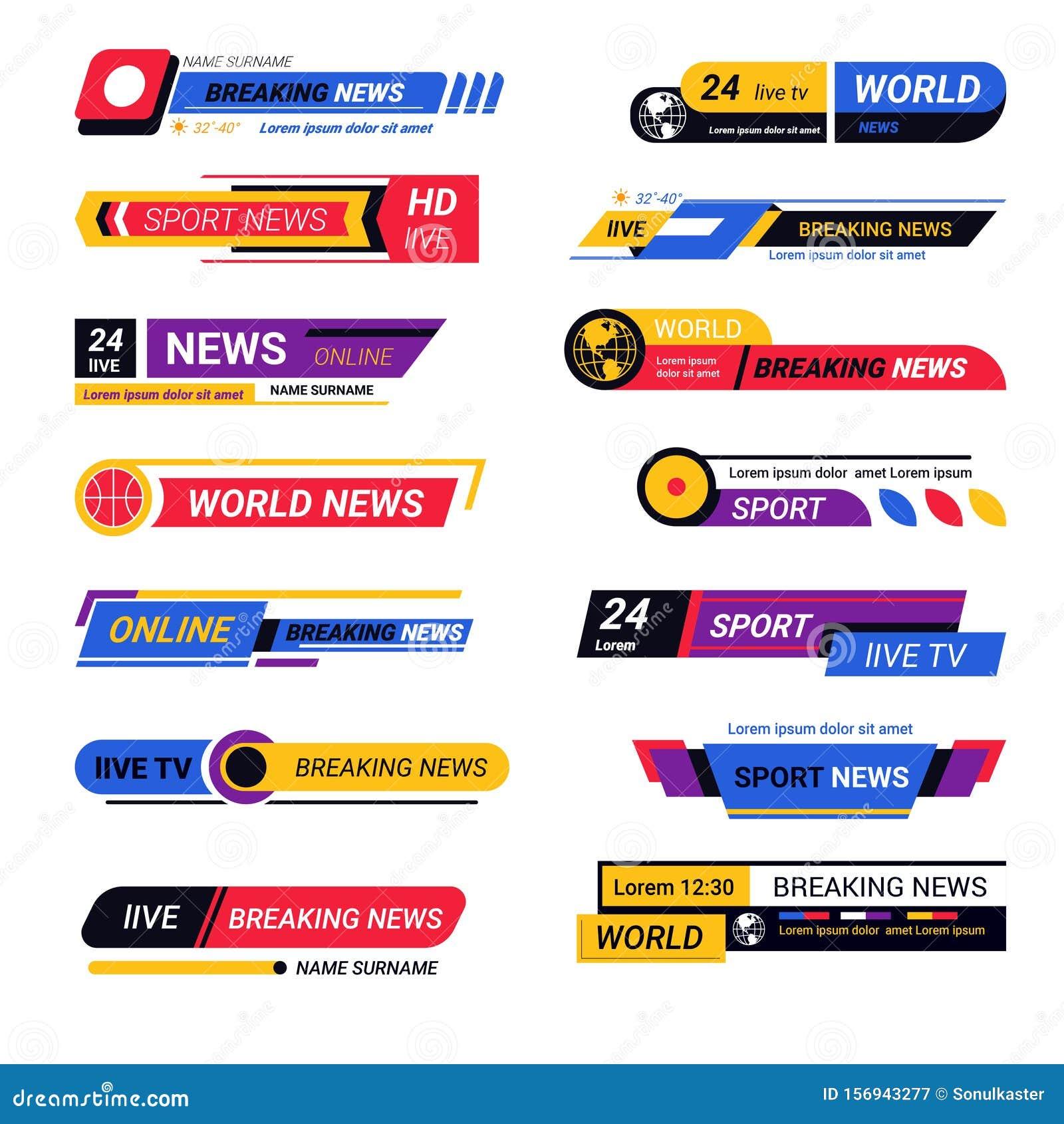 Latest News Header: TV Live Report Headers, Breaking News Titles Or Bars Stock