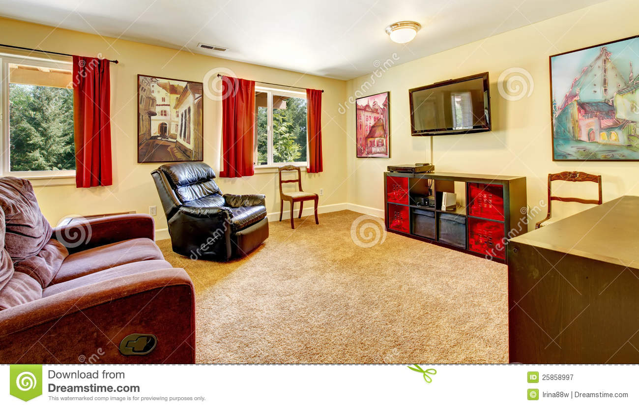 Tv Living Room With Art And Red Curtains Stock Image Image Of Lifestyle Carpet 25858997