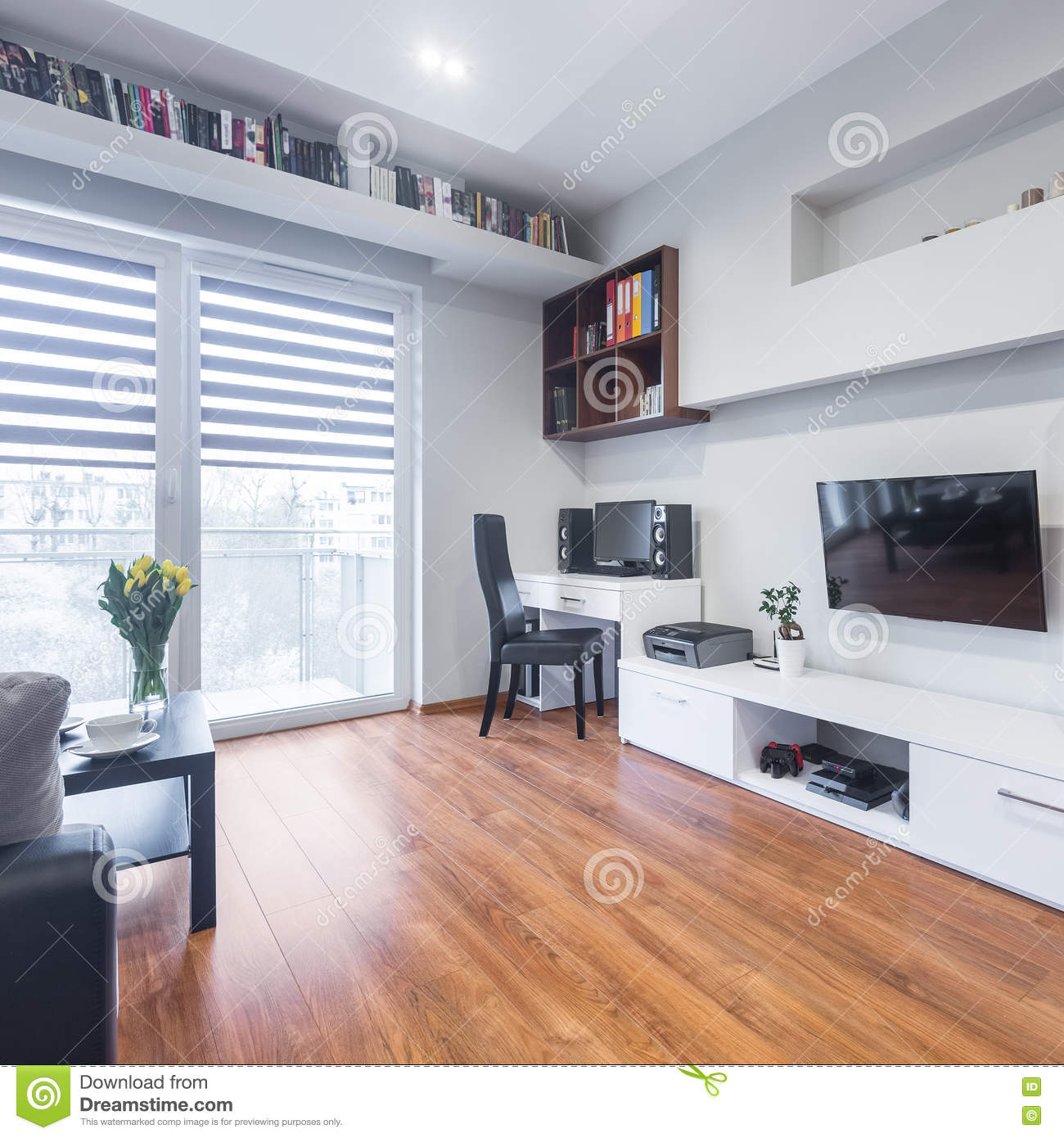 Spacious Living Room: TV Living Room With Balcony Stock Image