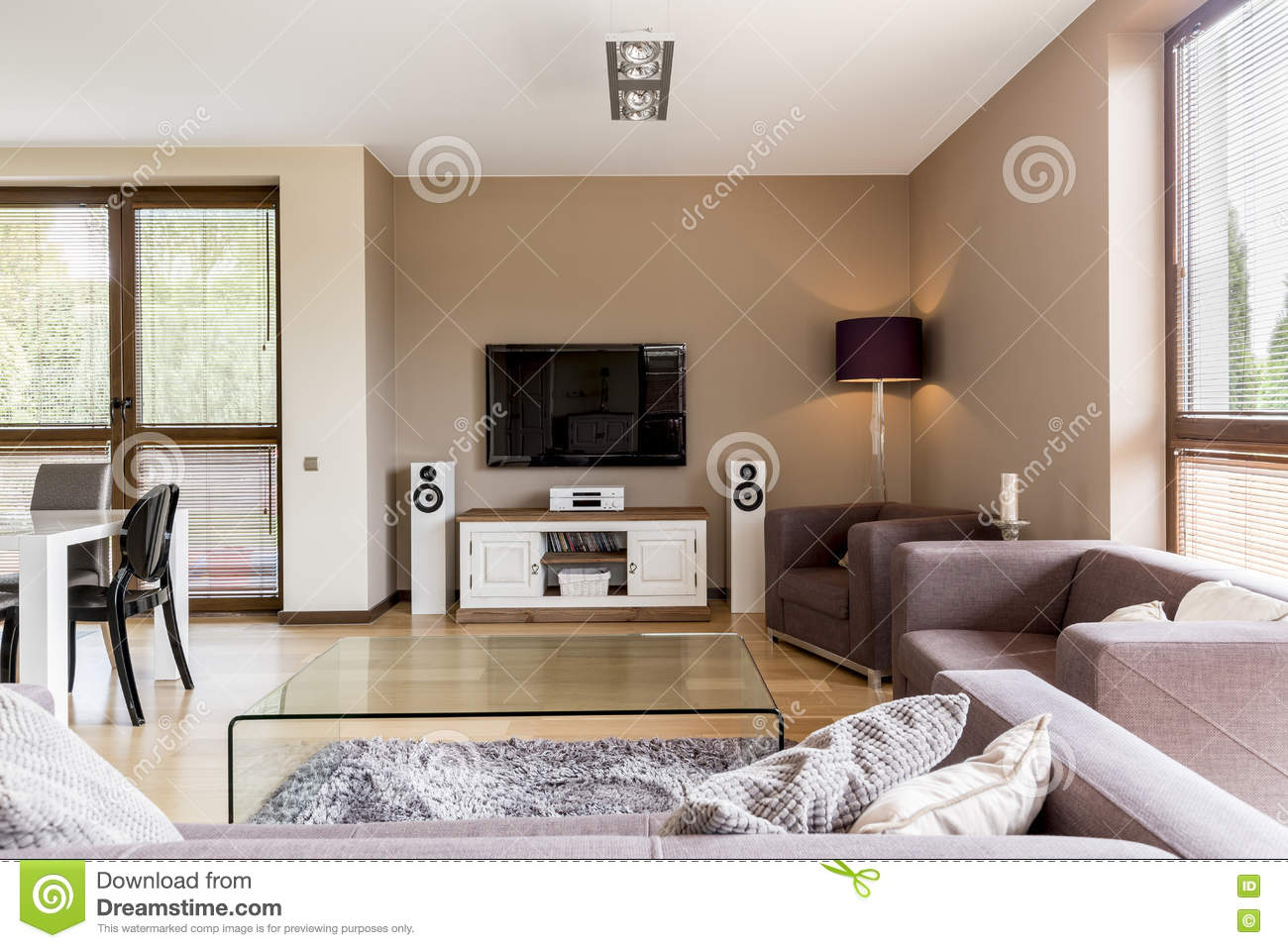 Commode Salle À Manger tv living room open to a dining area stock photo - image of