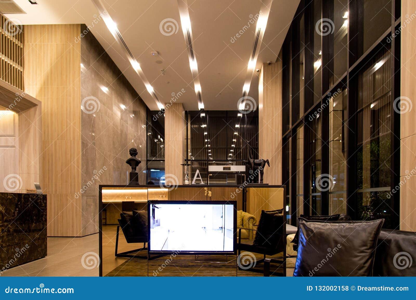 Hotel Lobby Interior Contemporary Shiny Hall In Modern