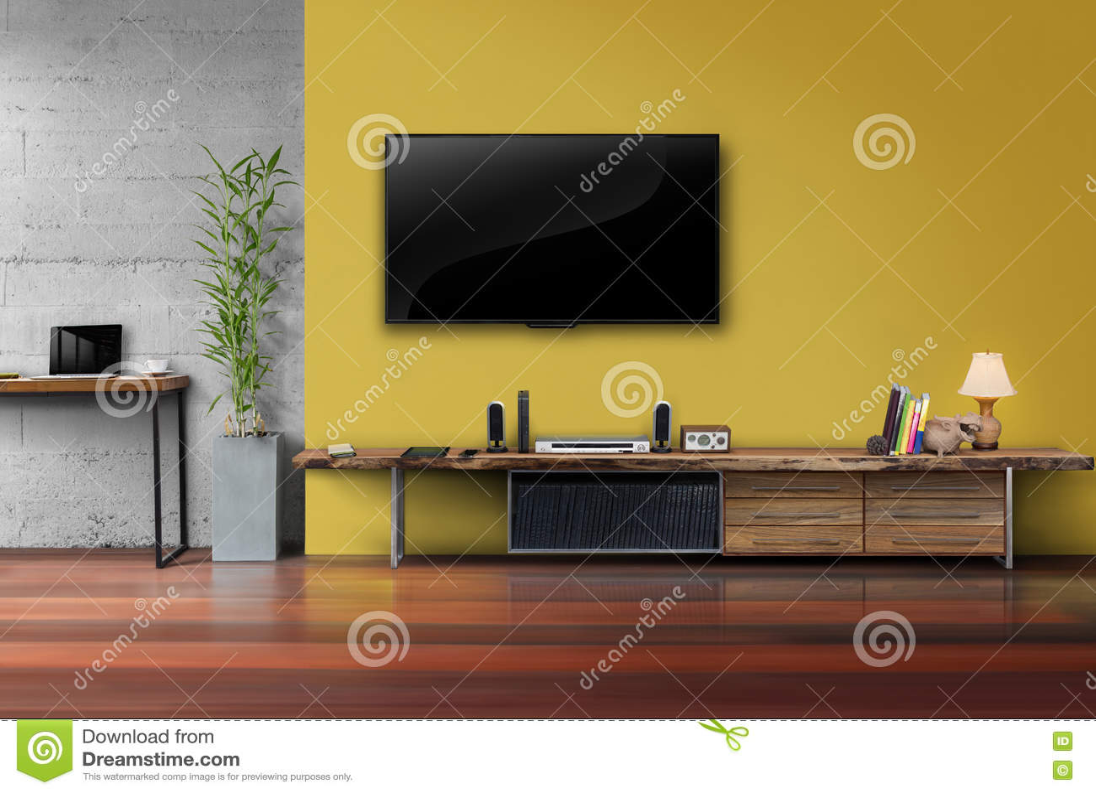 Tv Men E Sur Le Mur Jaune Avec Les Meubles En Bois De Media De  # Meubles Tv Jaune
