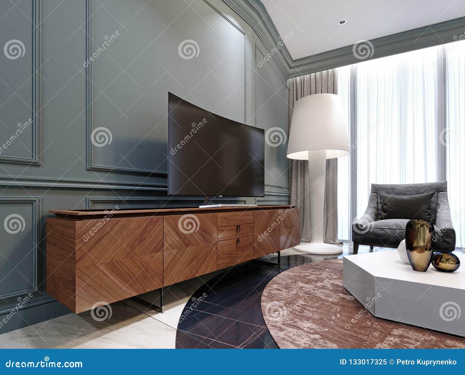 TV Moderne Sur Une Armoire En Bois Dans Le Salon