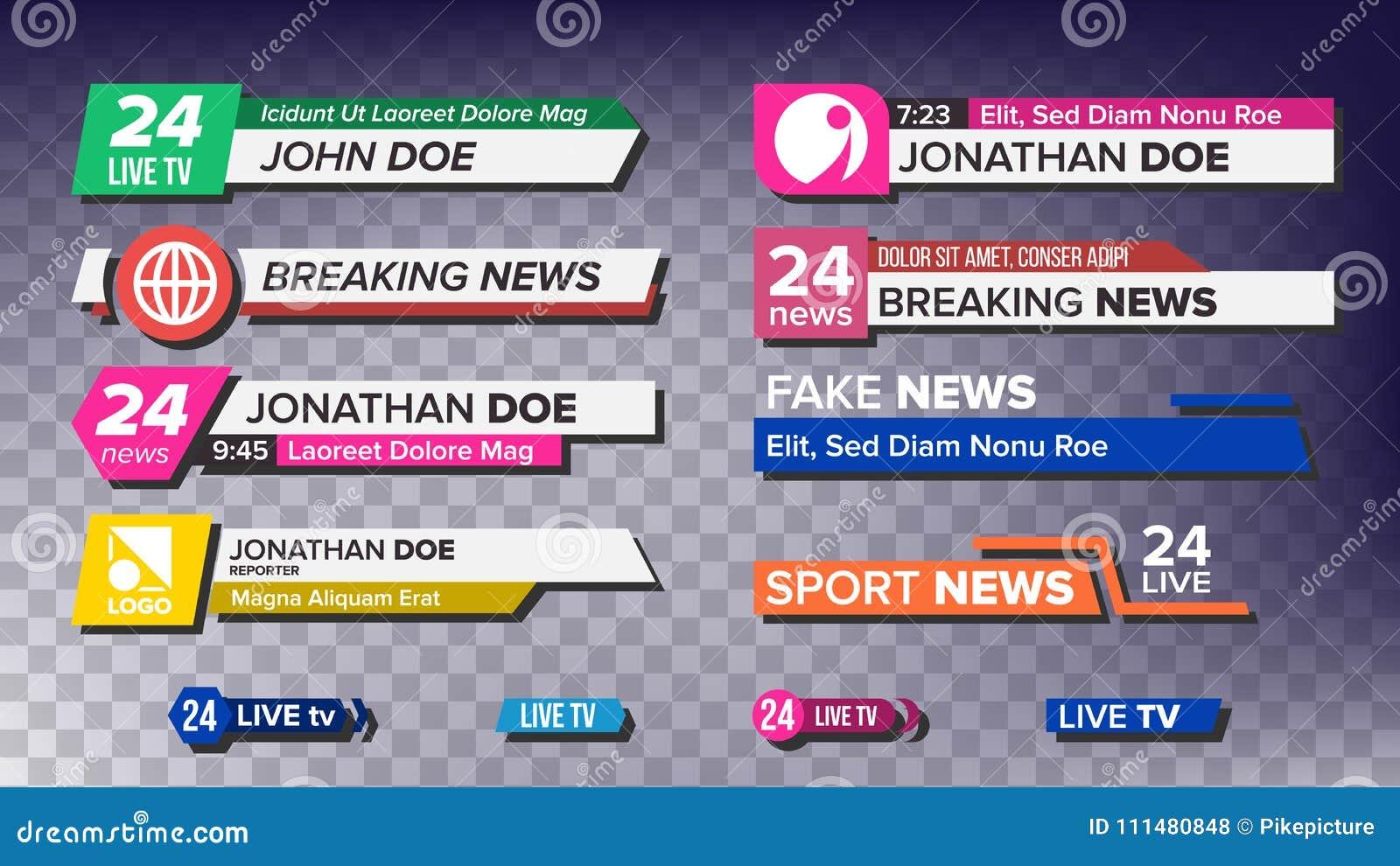 TV News Bars Set Vector  News Banner For TV Streaming  Full