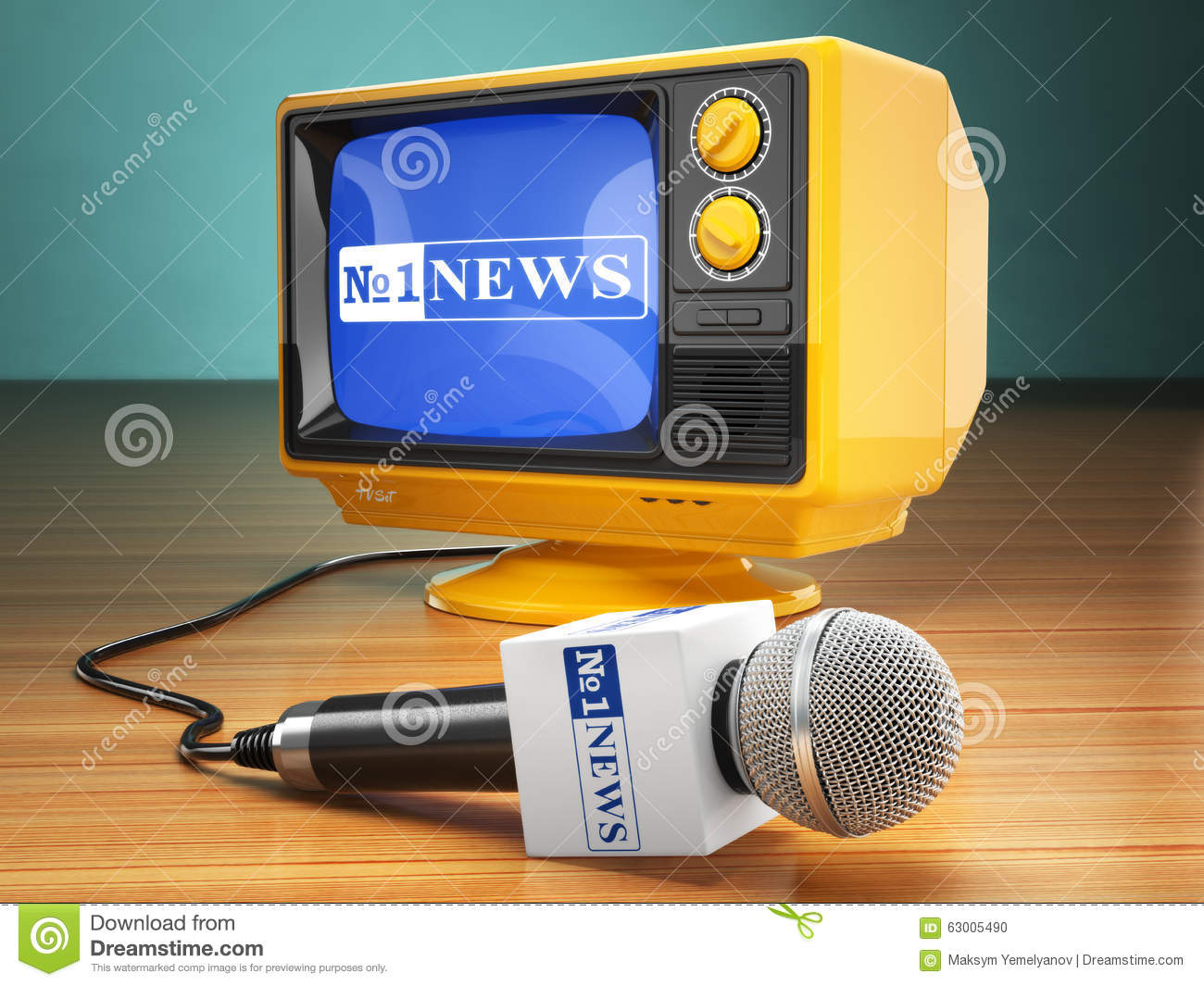 tv news or report concept microphone and television