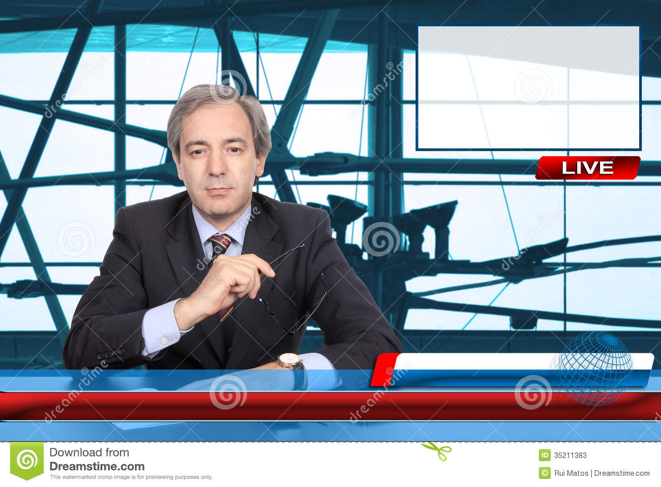 TV News Reporter Stock Image Of Industry Breaking
