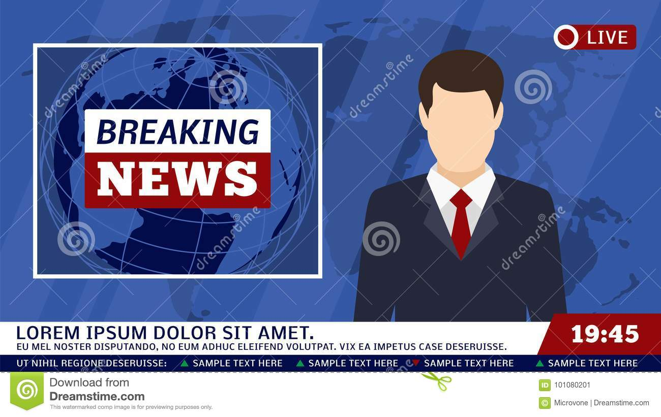 Download TV News Studio With Broadcaster And Breaking World Background Vector Illustration Stock