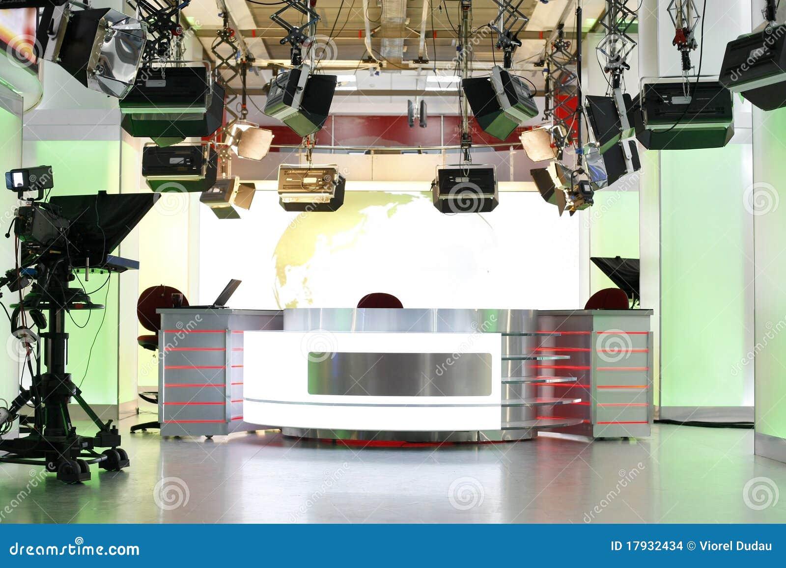 TV news studio setup