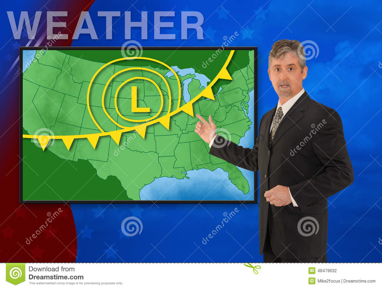 Tv News Weather Meteorologist Anchorman Reporting Stock