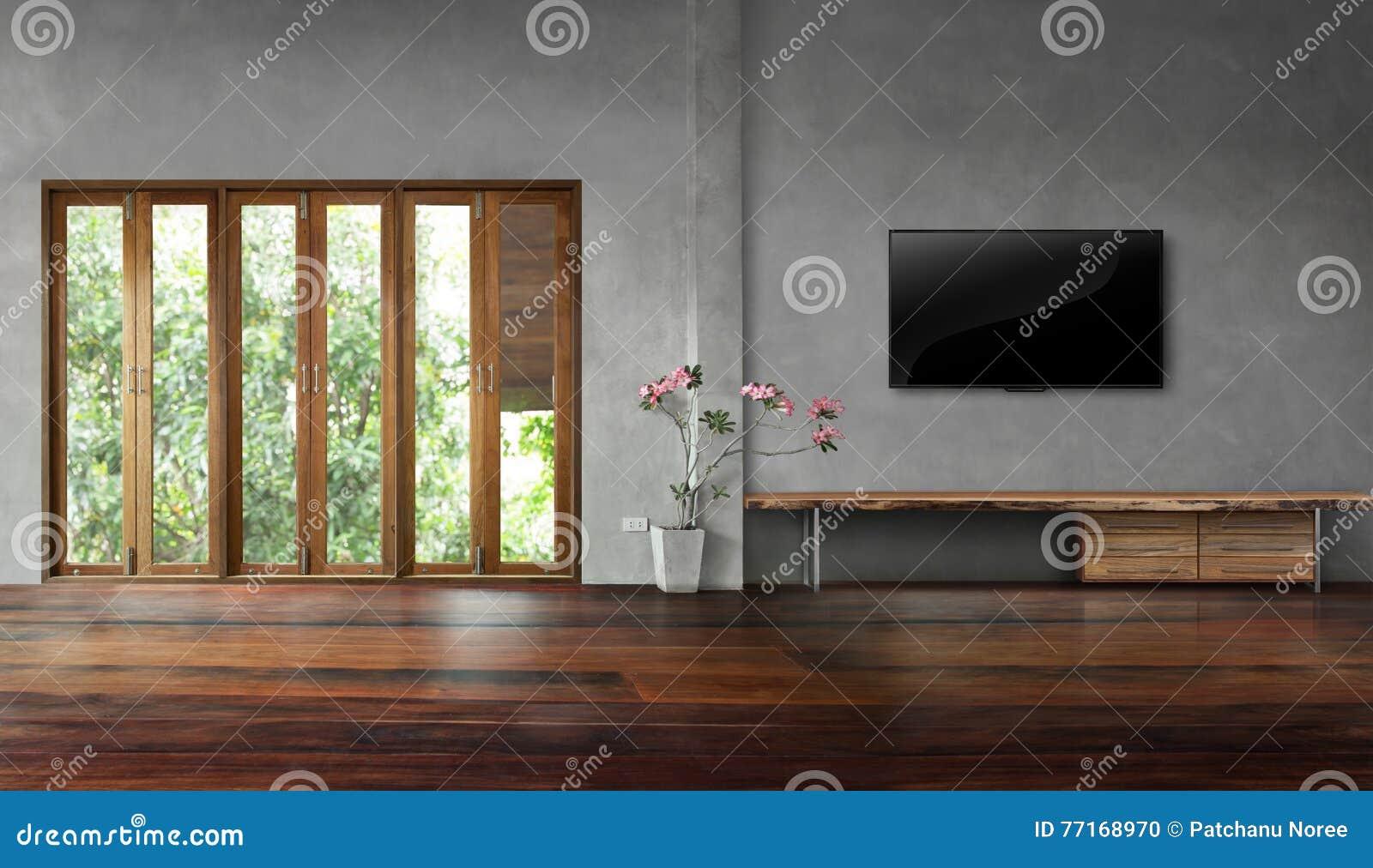 https://thumbs.dreamstime.com/z/tv-op-concrete-muur-met-lange-vensters-oude-houten-vloeren-lege-woonkamer-77168970.jpg