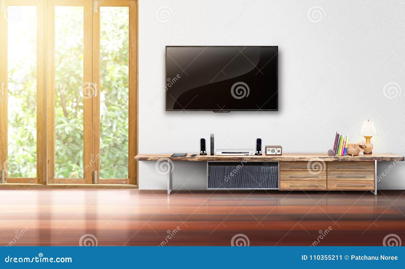 TV Op Het Witte Binnenland Van De Muur Lege Woonkamer Stock ...