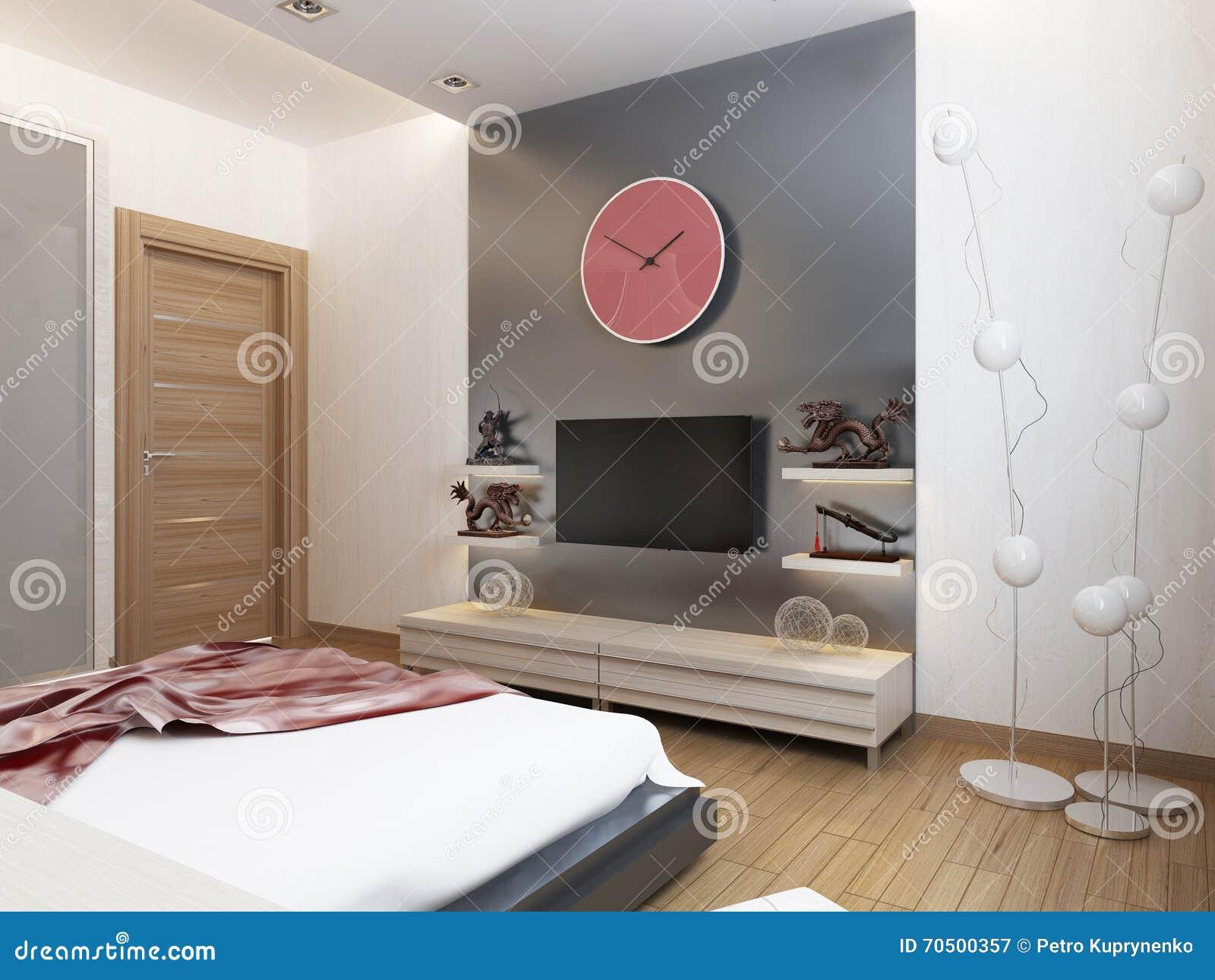 Tv Półki I Spiżarnia Pod Tv W Sypialni Obraz Stock Obraz