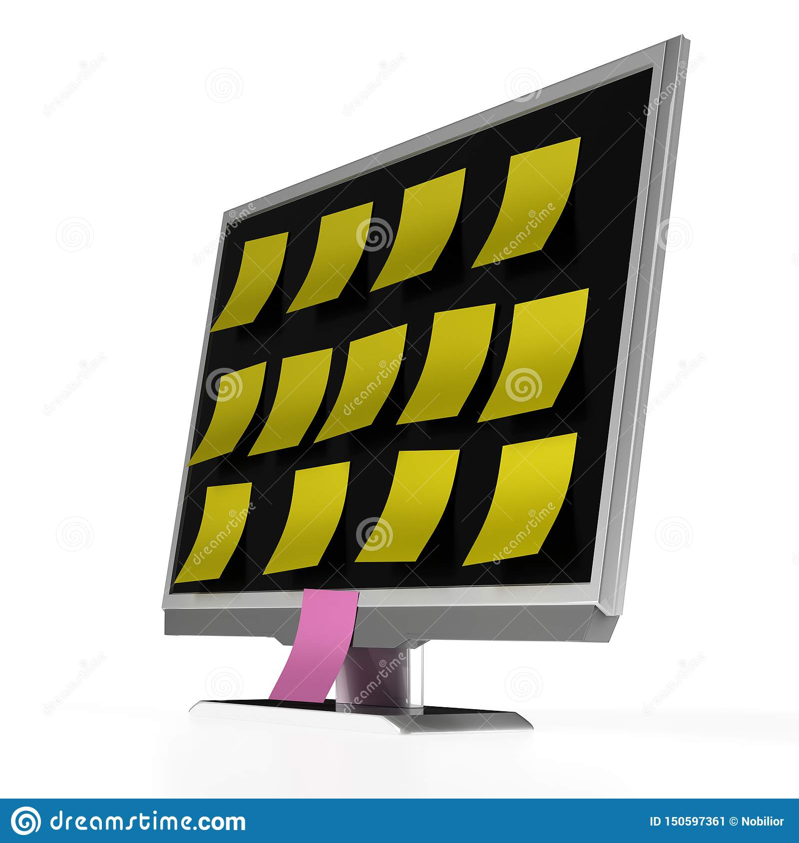 TV Or PC Monitor With Yellow Sticky Notes On The Screen