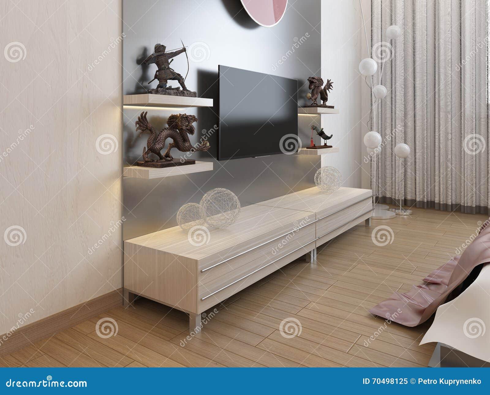 Kast Onder Tv.Tv Planken En Een Kast Onder Tv In De Slaapkamer Stock Illustratie
