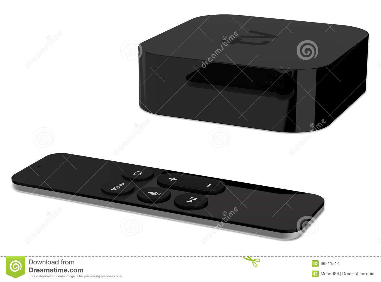 Tv Player Box Device With Remote Wireless Pilot  Stock Photo - Image