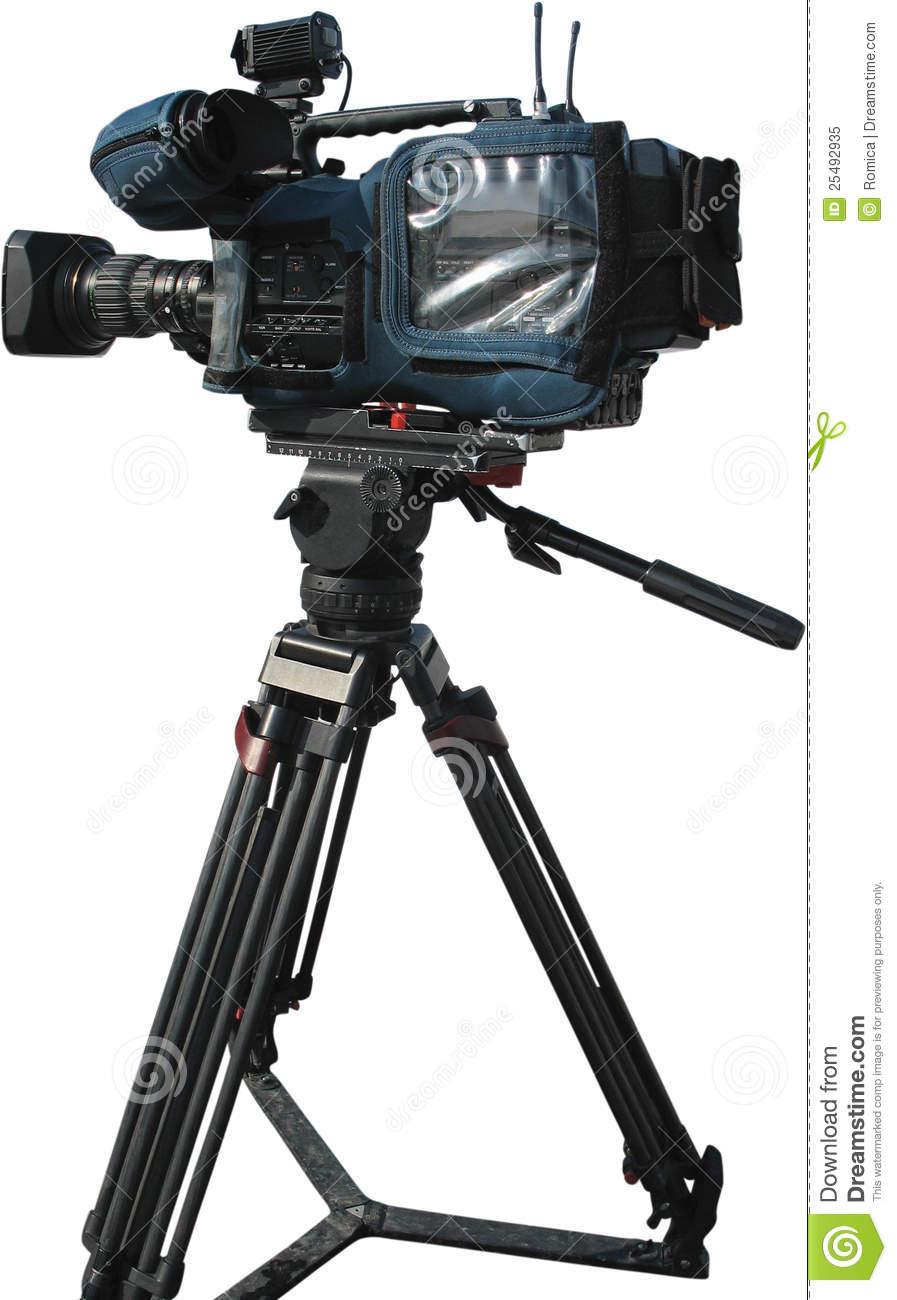 Tv Professional Digital Video Camera On Tripod Royalty