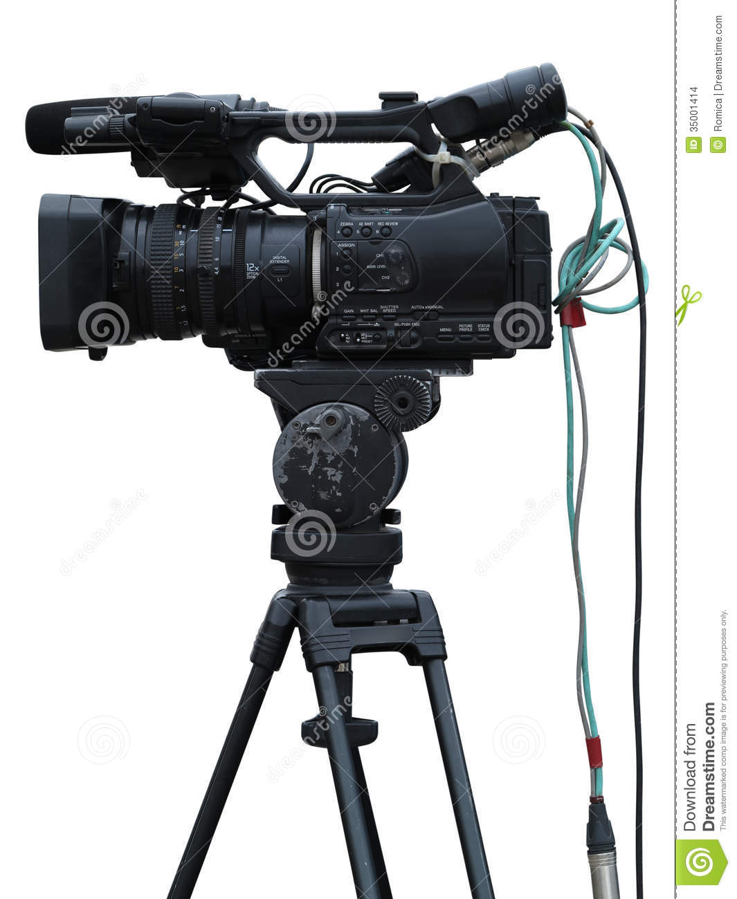 Tv professional studio digital video camera isolated on - Tv in camera ...